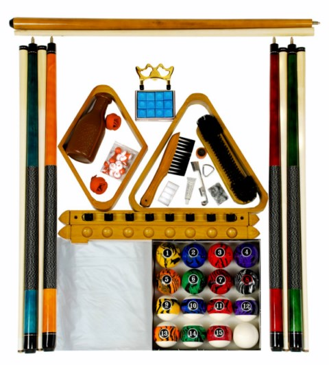 Billiard - Pool Table Accessory Kit W/ Dark Marble  Ball Set Oak Finish
